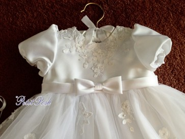 Sarah Louise 001054 Puff Sleeve Embroidered Christening Gown & Bonnet