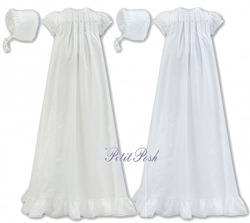Sarah Louise 001167 Pintuck Puff Sleeve Cotton Gown & Frilly Bonnet in white or ivory
