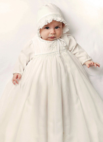 Sarah Louise 001169L Smocked Long Sleeve Christening Gown & Bonnet IVORY