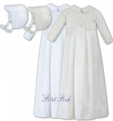 Sarah Louise 001176 Mock Waistcoat Christening Gown & Cap Style Bonnet Set