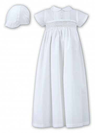 Sarah Louise 001178 Boys Smocked Gown & Cap