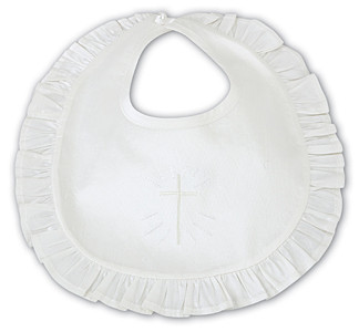 Silk Frilly Bib with embroidered cross