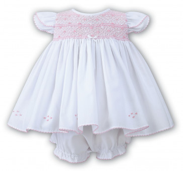 Sarah Louise 010631 Smocked Dress & Panties WHITE/PINK