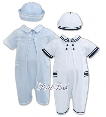 Sarah Louise 011168 Boys Sailor Romper & Hat Set in baby blue or white with navy trim