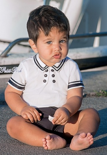 Sarah Louise 011169 Baby Boys White & Navy Prince George Style Buster Suit