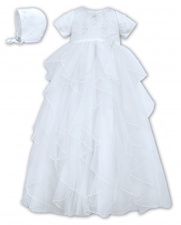 Sarah Louise 001086 Embroidered Asymetrical Tulle Gown & Bonnet WHITE