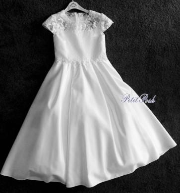 Sarah Louise 090065 TRELLIS White Satin & Lace Communion Dress
