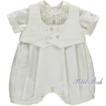 Emile et Rose Occasions 1683 SEBASTIAN Silk Christening Romper shown with included waistcoat