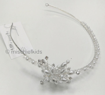 Little People 4890 offset Pearl + Diamante Flower Headband