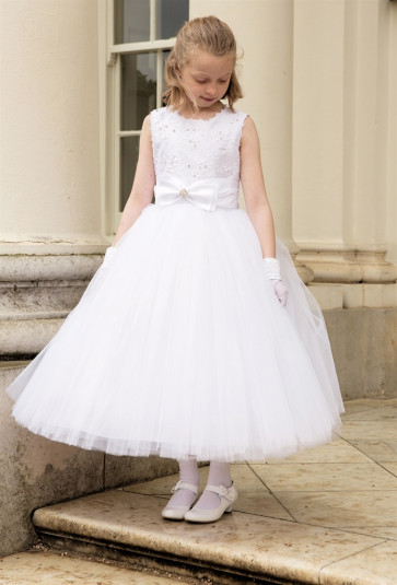 Cerimonia ANASTASIA Tulle Communion Dress with Removable Hoops WHITE ANKLE LENGTH