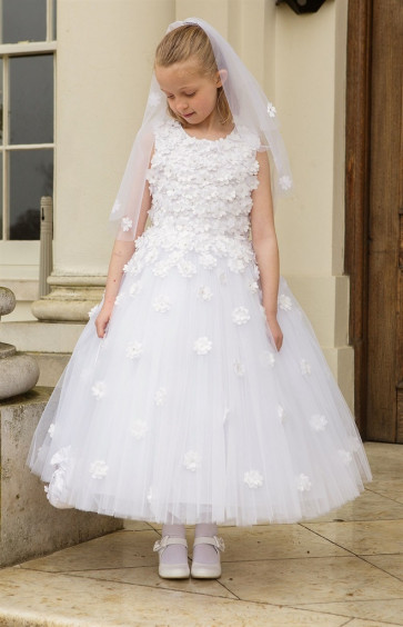 Cerimonia BETHANY Tulle Communion Dress with Removable Hoops WHITE ANKLE LENGTH