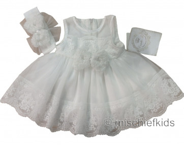 Couche Tot CT082 Ivory Baby Christening Dress & Headband