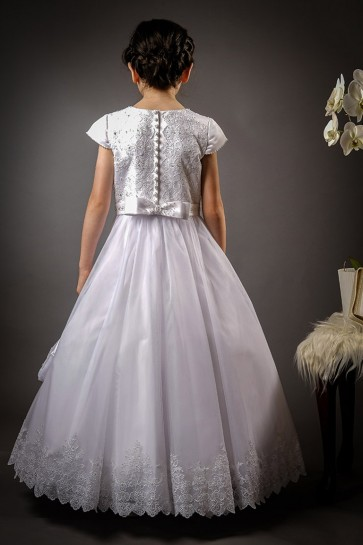 Poinsettia CT5166 Full Length Communion Dress & Bag Bodice back view