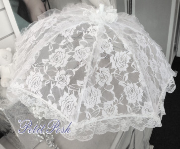Little People White Lace Communion or Flower Girl Umbrella Parasol