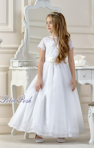 Lacey Bell CD14 LYNDSEY Organza Lace Communion Dress