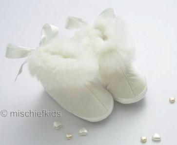 Little Darlings 2936 Ivory Fur trimmed Silk Bootee