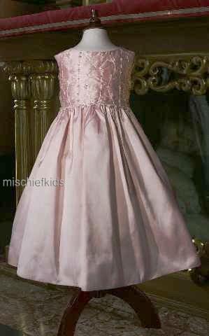 Little Darlings Scarlet D5200 Pink Silk Bridesmaid | Flower Girl Dress PINK