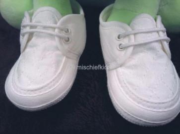 Sarah Louise 004490 Linen Loafer Style Pram Shoe WHITE