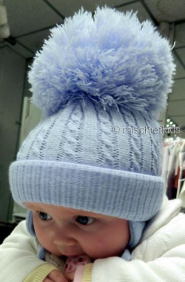 Satila TWINE cable knit Huge Pom Hat BLUE