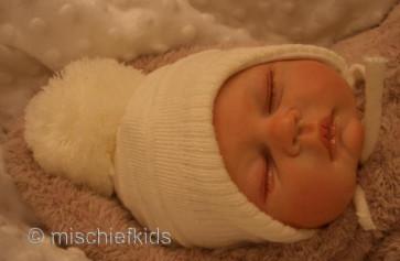Satila of Sweden TINY Baby Big Pom Ribbed Hat CREAM