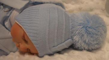 Satila TINY Baby Big Pom Ribbed Hat BABY BLUE