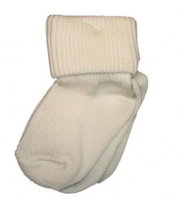 Pex ROMAi Two Pair Plain Ivory Turnover Top Socks
