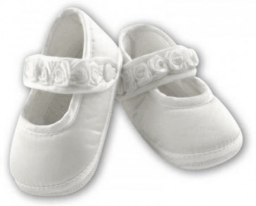 Sarah Louise 412 Girls Mary Jane Pram Shoe WHITE