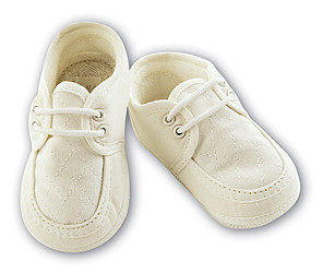 Sarah Louise 004490 Linen Loafer Style Pram Shoe IVORY