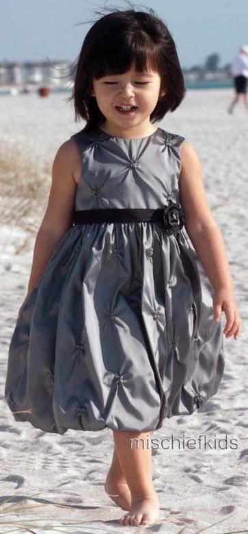 Sarah Louise 070 7209 Puffball Dress PEWTER SILVER GREY