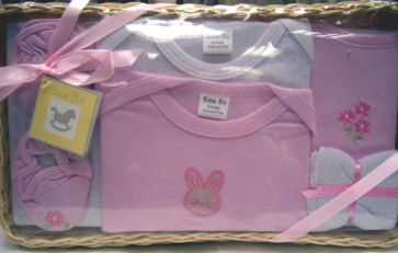 NEWBORN 25953p Pink 7 Piece Basket Gift Set
