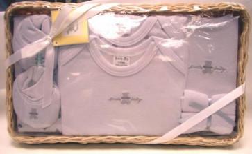 NEWBORN 25953w White 7 Piece Basket Gift Set