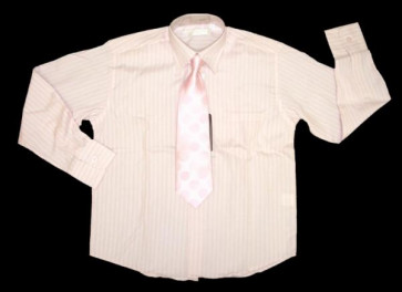 Sebastian Le Blanc EB002p Pink Stripe Shirt and Tie Set
