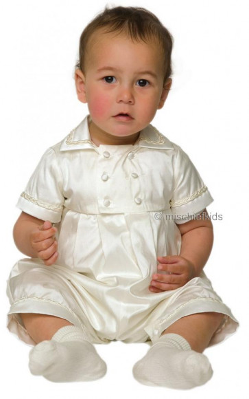 Little Darlings A3131 Rupert Ivory Silk Christening Romper