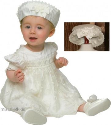 Little Darlings BS9008 Chloe Silk Christening Bloomer Set IVORY