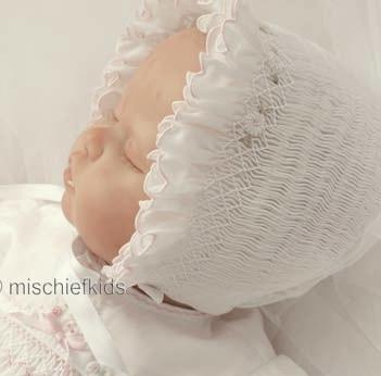 Sarah Louise 602 White Smocked Bonnet