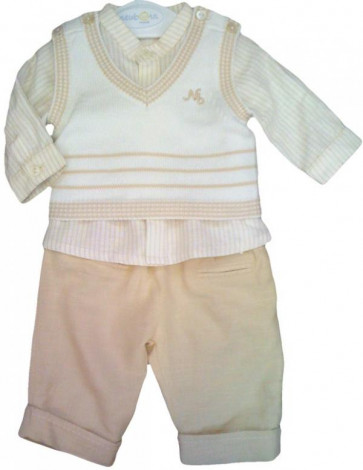 Mayoral MA1505bis Biscuit Shirt, Tanktop and Trouser Set