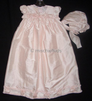 Kate Mack KM329p Precious Heirloom Silk Roses Christening Gown and Bonnet PINK