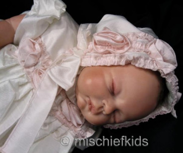 Kate Mack KM329 Precious Heirloom Silk Roses Gown and Bonnet IVORY/PINK
