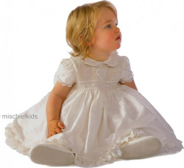 Little Darlings BS9009 Amelia Silk Christening Bloomer Dress Set