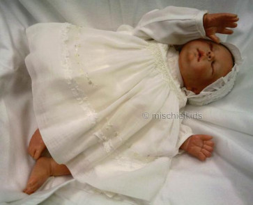 Sarah Louise 181 Cotton Voile Dress and Bonnet IVORY LONG SLEEVE