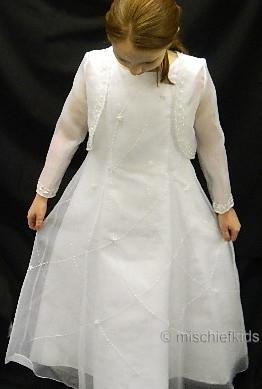 OCCASIONS AVA White Organza Communion Dress and Bolero Jacket SPECIAL PRICE