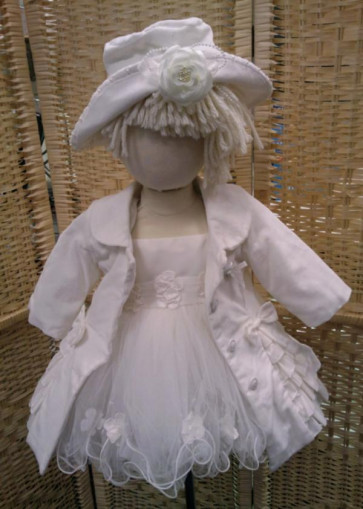 Couche Tot 29087 and 29088 Velvet Ruffle Coat and Hat IVORY