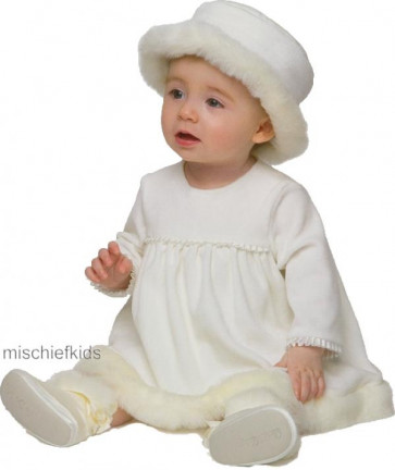 Little Darlings D4242 Felicity Fur Trim Christening Dress