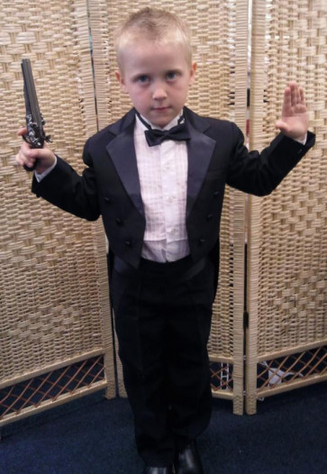OCCASIONS JAMES Boys 6 Piece Tailed Tuxedo Suit BLACK