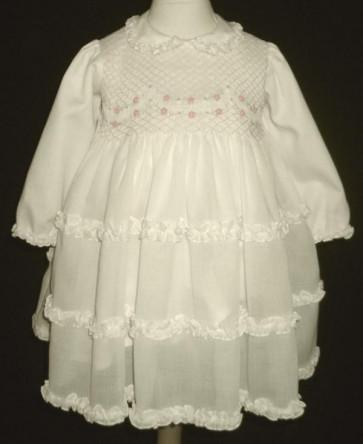 Sarah Louise 7539i Ivory Smocked Long Sleeved Voile Dress