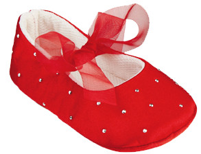 Frazer and James S017 Red Satin Sparkle Ballerina Pram Shoes