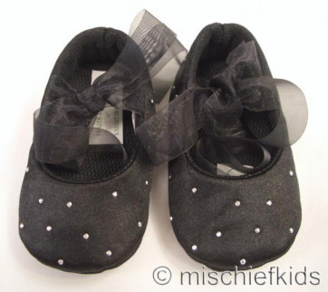 Frazer and James S017 Black Satin Sparkle Ballerina Pram Shoes