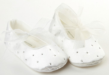Frazer and James PD017 Satin Sparkle Ballerina Pram Shoes WHITE