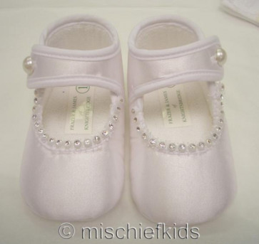 Frazer and James S005 Satin Diamante Pram Shoes IVORY or WHITE