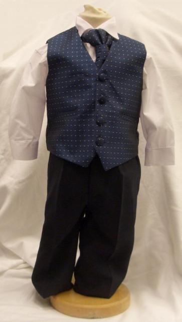 Antonio Villini PDSICILY Navy Dot 4 Piece Cravat Waistcoat Suit